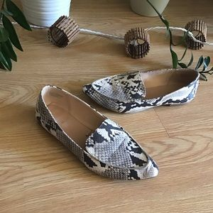 Express faux snake embossed pointy toe loafers